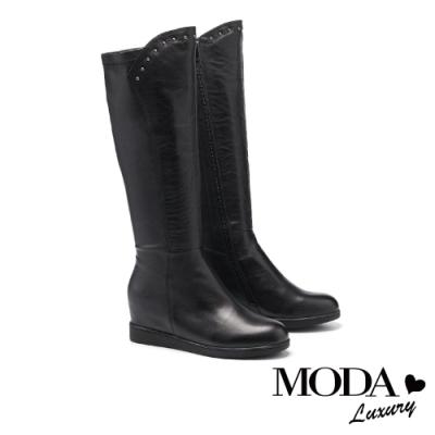 長靴 MODA Luxury 率性不羈異材質拼接內增高厚底長靴-黑