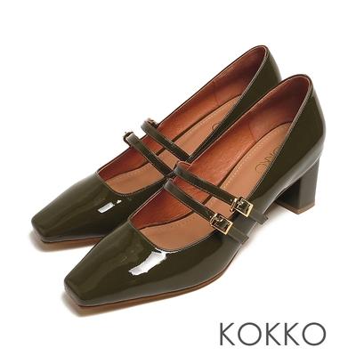 KOKKO優雅赫本瑪莉珍方頭鏡面真皮粗跟鞋墨綠色