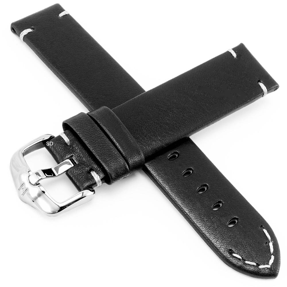 海奕施 HIRSCH Ranger L質感縫線小牛皮手錶帶-黑