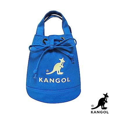 KANGOL 韓版玩色系列-帆布斜背水桶包-正藍AKG1214
