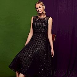JESSICA - 高雅透膚格紋線條無袖洋裝