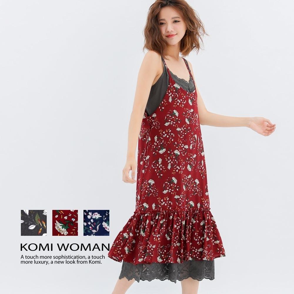 【KOMI】花朵吊帶荷葉雪紡洋裝‧三色