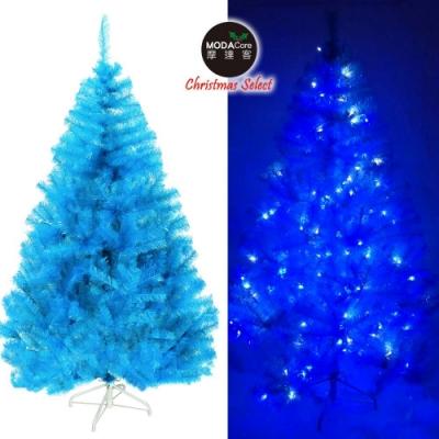 摩達客 台灣製6呎豪華版晶透藍系聖誕樹(不含飾品)+100燈LED燈藍白光2串