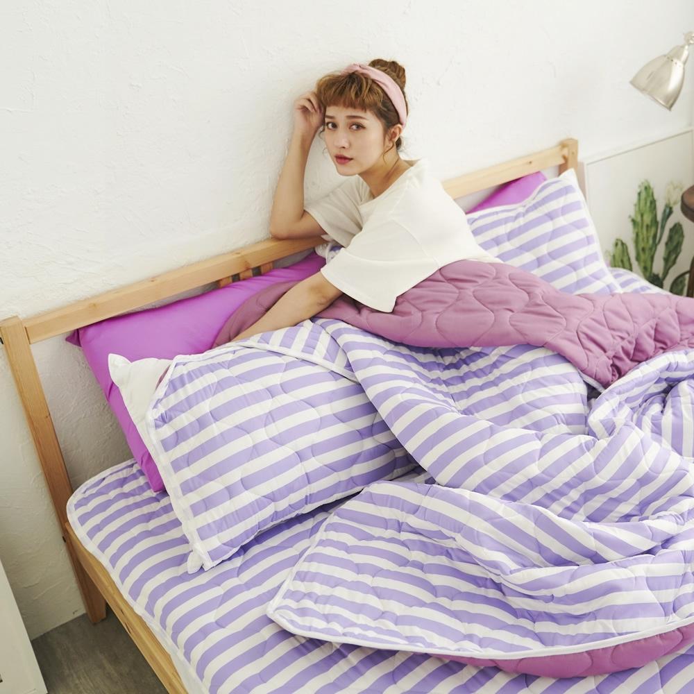 Adorar 平單式針織親水涼感墊+涼枕墊二件組-單人(紫)