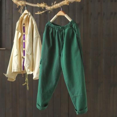 側條紋鬆緊腰休閒寬鬆衛褲九分蘿蔔褲-設計所在