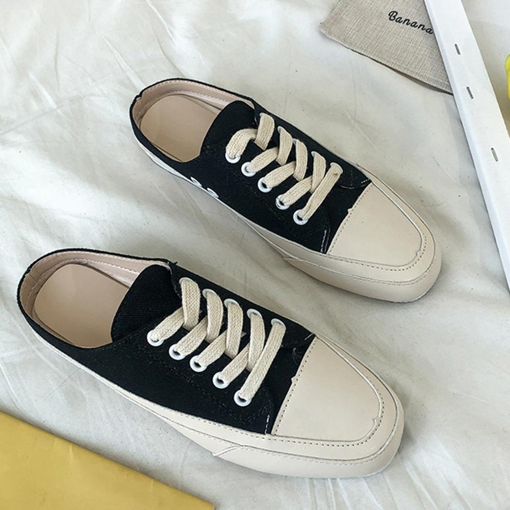 韓國KW美鞋館 經典簡約休閒網紅穆勒鞋 黑