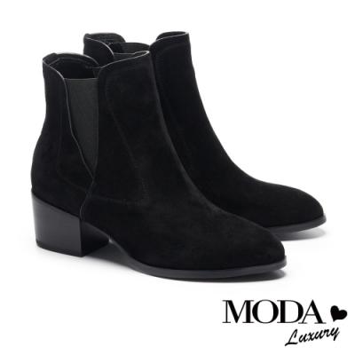 短靴 MODA Luxury 時髦輪廓異材質拼接設計粗跟短靴-深黑