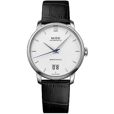 MIDO美度 BARONCELLI III永恆系列大視窗機械男錶-白/40mm