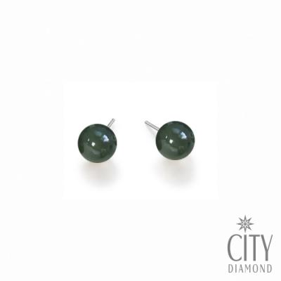 City Diamond【開運設計】台灣玉 台玉 2mm 純銀耳環