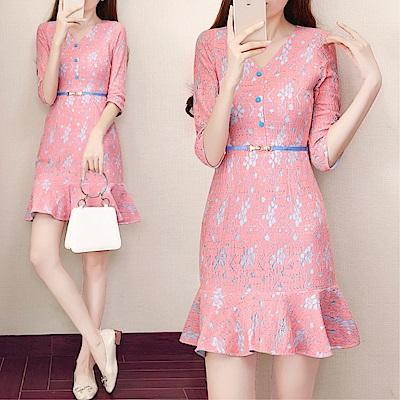 DABI 韓系收腰v領修身顯瘦魚尾裙蕾絲長袖洋裝