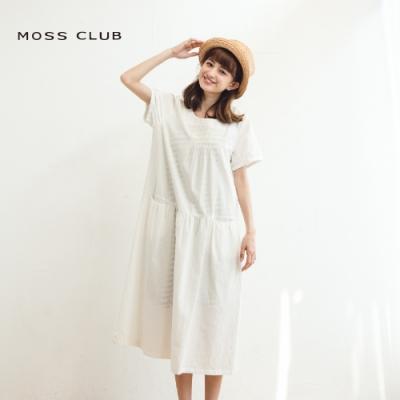 【MOSS CLUB】浪漫長版剪接短袖-洋裝(白色)