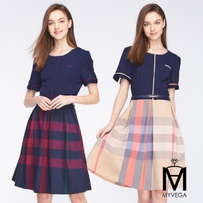 麥雪爾 MA素面拼接格紋造型短洋裝-共二色