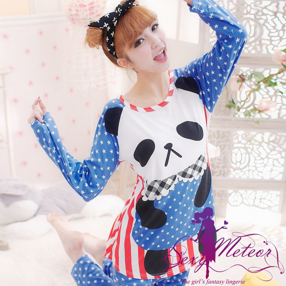 睡衣 全尺碼 熊貓圓點條紋牛奶絲長袖二件式睡衣組(甜美藍) Sexy Meteor