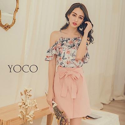 東京著衣-yoco 清甜氣質印花兩件式上衣短裙套裝-S.M.L(共一色)