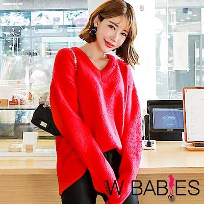 正韓 純色寬鬆V領長袖針織衫 (紅色)-W BABIES