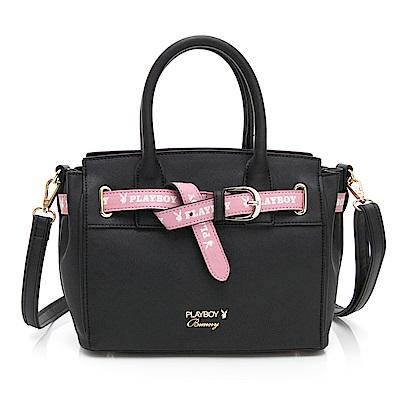 PLAYBOY- 手提包附長背帶  玩色繽紛系列-黑色