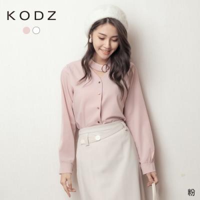 東京著衣-KODZ 高雅氣息釦環造型繞頸V領襯衫上衣(共二色)