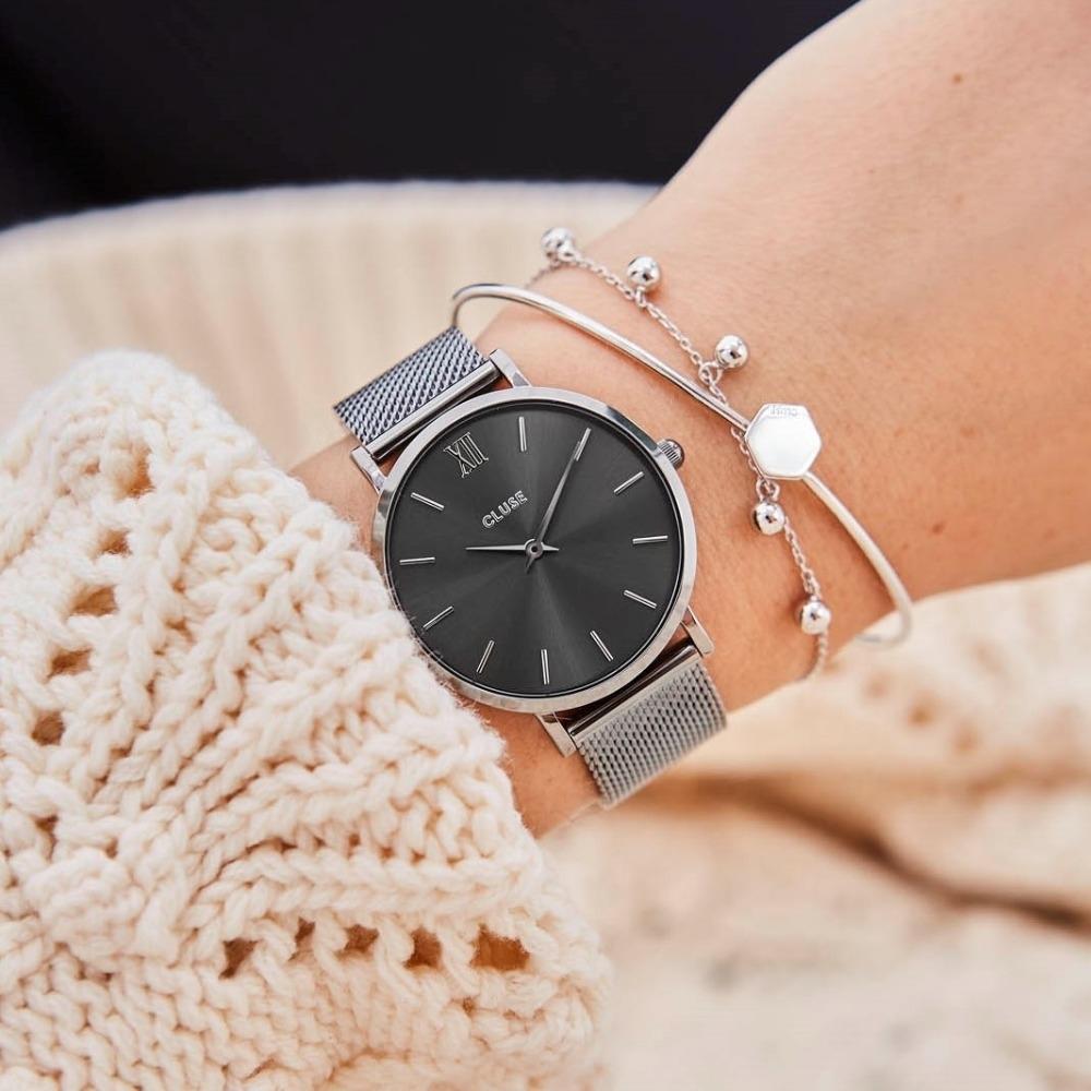 CLUSE Minuit 午夜系列腕錶 (迷霧灰框/灰錶面/迷霧灰不鏽鋼錶帶) 33mm
