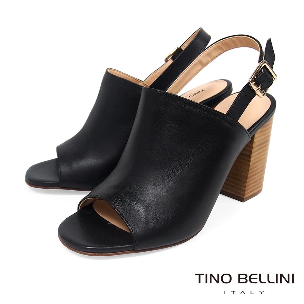 Tino Bellini 巴西進口極簡質感後釦帶魚口跟鞋 _ 黑
