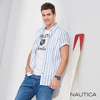 Nautica經典藍白細直紋短袖襯衫-藍色