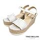 Tino Bellini 西班牙進口典雅小牛皮編織草編楔型涼鞋-白 product thumbnail 1