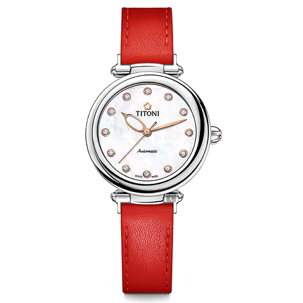 TITONI 梅花錶 炫美時尚之約械錶女錶-珍珠貝x紅錶帶/33.5mm