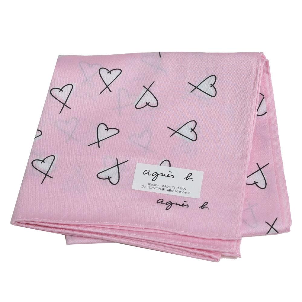 agnes b 繽紛塗鴉愛心品牌字母LOGO帕領巾(粉紅系)