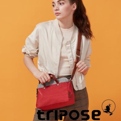 tripose 漫遊系列岩紋雙拉鍊手提斜背包 番茄紅