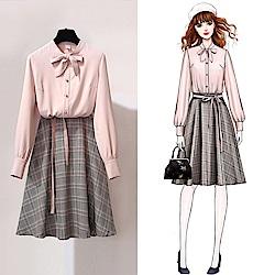 蝴蝶系帶襯衫+格紋裙兩件式套裝