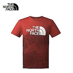 The North Face男款紅色靈活舒適短袖T恤