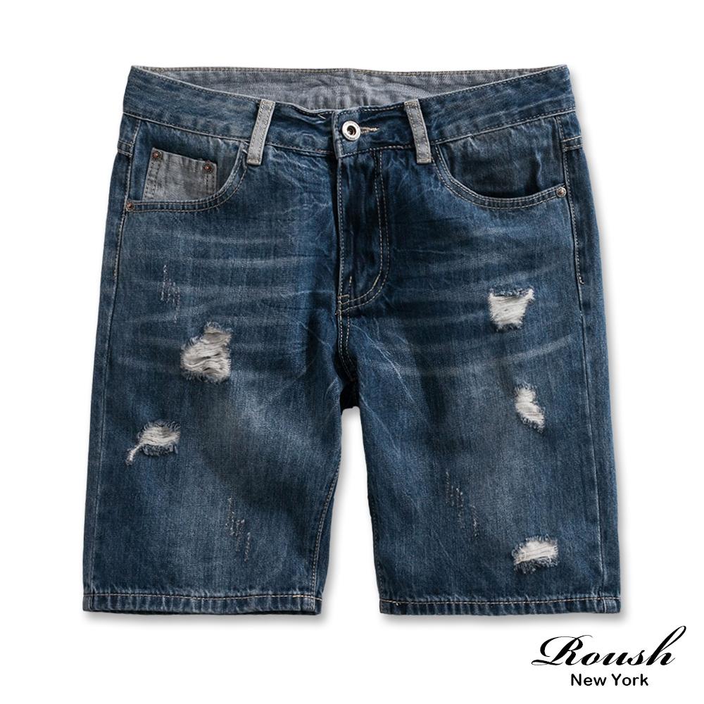 Roush 破壞感水洗刷色牛仔短褲