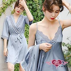 居家睡衣 玫瑰芬芳 素色二件式罩衫連身睡裙組(灰F) AngelHoney天使霓裳