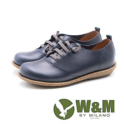 W&M 圓頭寬楦皮革耐磨休閒鞋 女鞋 - 藍(另有黑)
