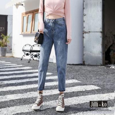 JILLI-KO 率性刷色牛仔男友褲- 藍色