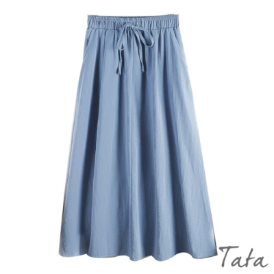 純色綁帶鬆緊腰半身裙 共三色 TATA