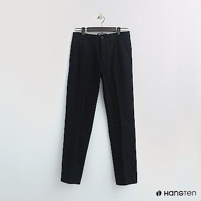 Hang Ten - 男裝 -純色休閒棉質長褲 - 黑