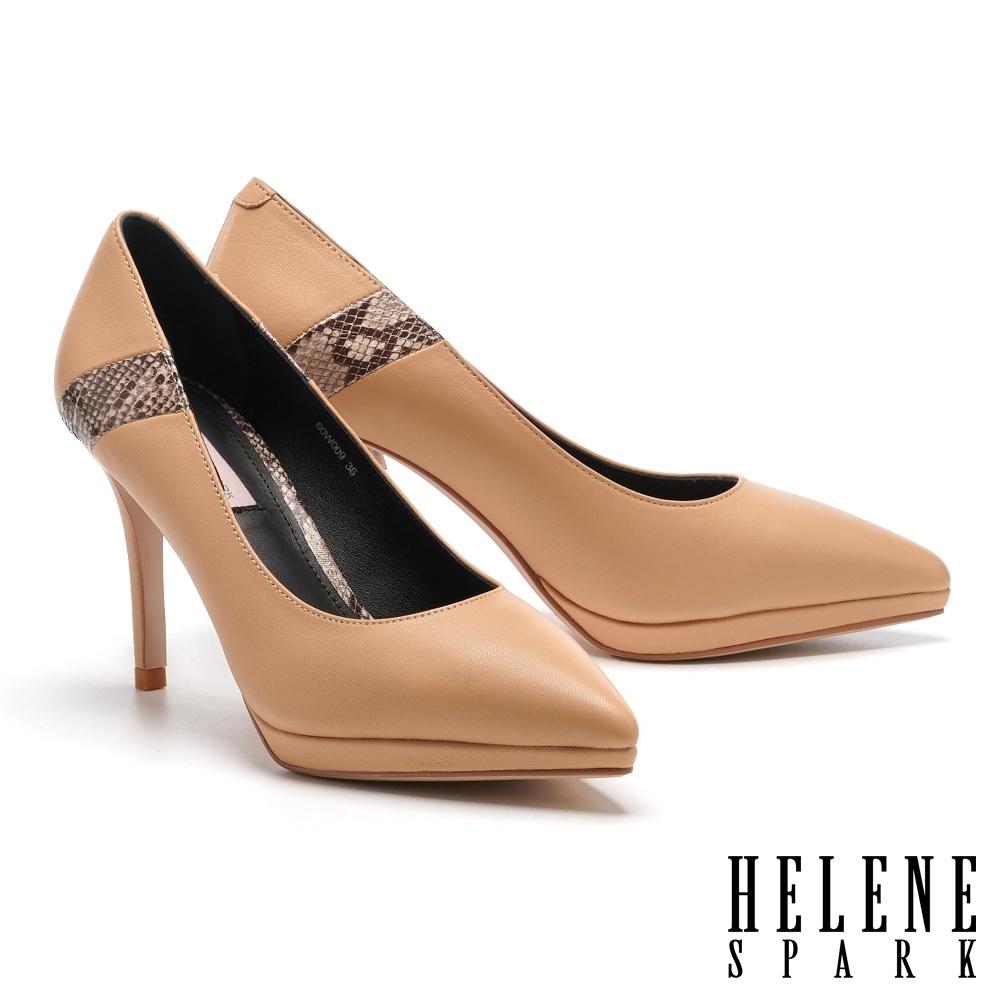 高跟鞋 HELENE SPARK 簡約時髦異材質拼接尖頭美型高跟鞋-杏