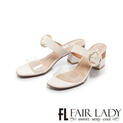 FAIR LADY Early Summer透明一字圓釦撞色粗跟涼拖鞋 白