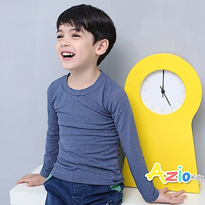 Azio Kids 上衣 磨毛立領基本款保暖衣(麻藍)