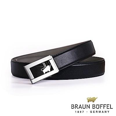 BRAUN BUFFEL - 經典鏤空LOGO自動扣皮帶 - 銀色