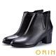 ORIN 俐落時髦 素面彈力鬆緊真皮粗跟短靴-黑色 product thumbnail 1