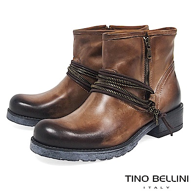 Tino Bellini義大利進口帥勁拉鍊造型工程靴_擦色棕