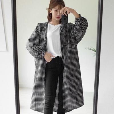 La Belleza格子假口袋抛抛袖排釦連帽寬鬆長版襯衫棉麻外套