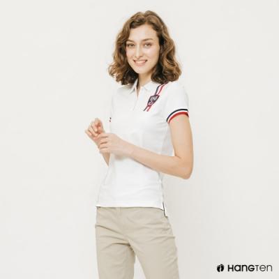 Hang Ten-女裝撞色線條彈性POLO衫-白