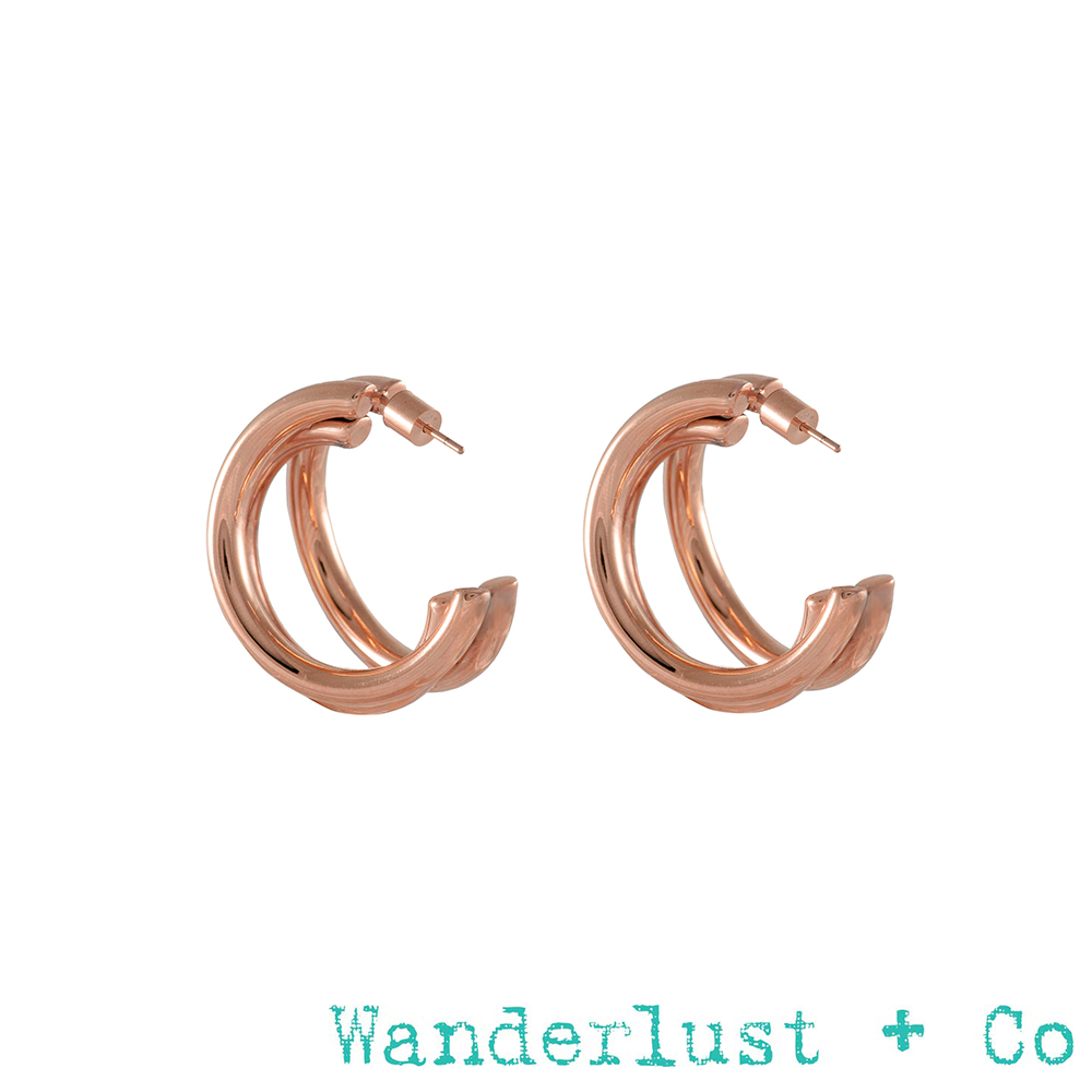 Wanderlust+Co Infusion系列 Faye三環耳環 玫瑰金