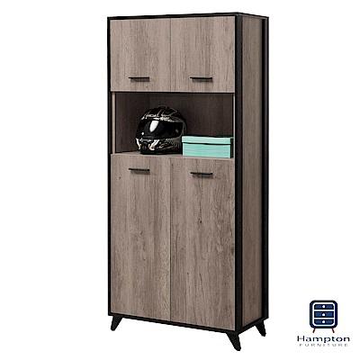 漢妮Hampton倫納德系列古橡木2.6x6尺鞋櫃-80x40x180cm