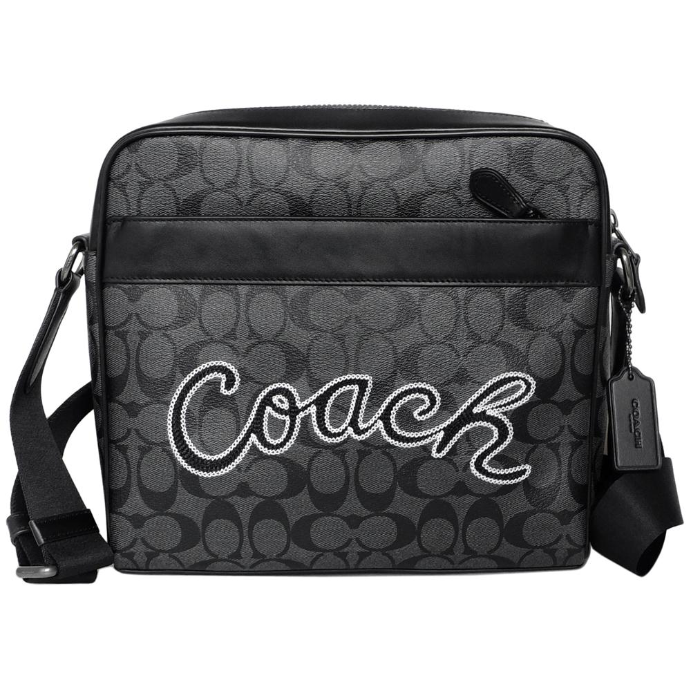 COACH灰黑C Logo線繡文字黑邊真皮方型斜背男包