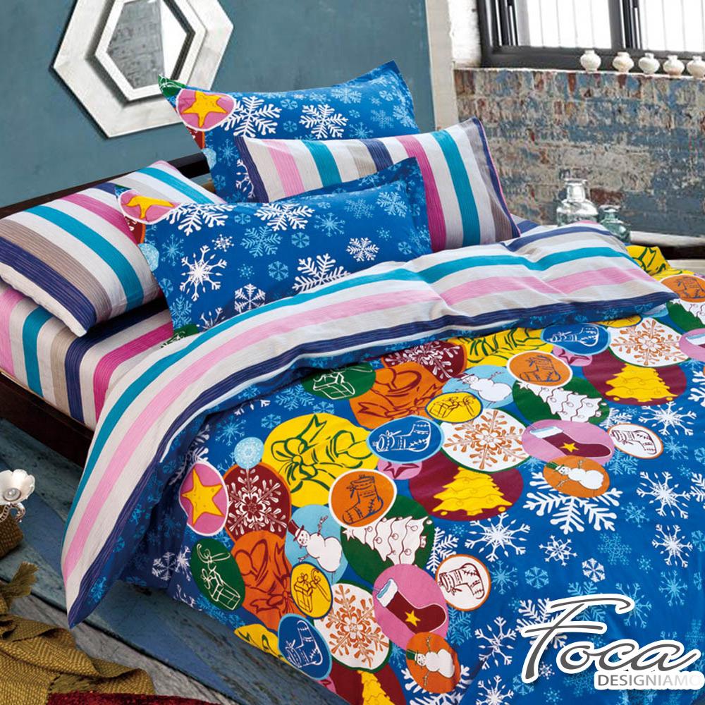 FOCA叮噹時節-特大-100%精梳純棉四件式兩用被床包組