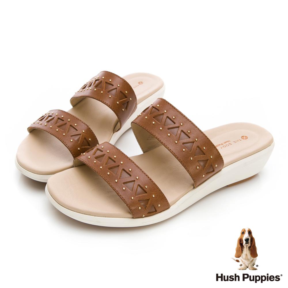 Hush Puppies LYRICALE 機能涼拖鞋-棕褐