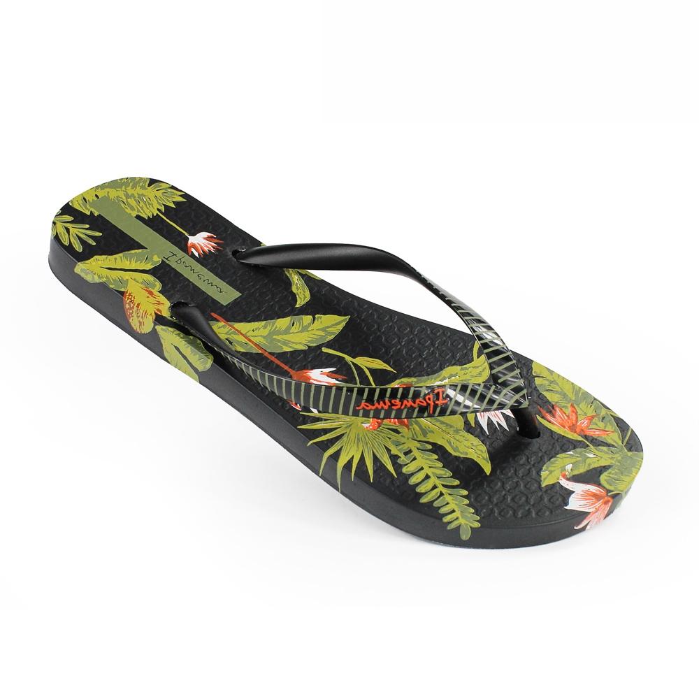 巴西品牌 女 熱帶雨林人字拖鞋 - 黑/綠